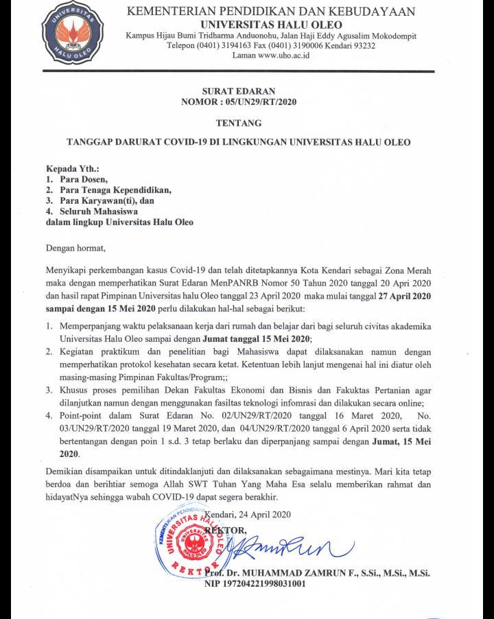 Rektor UHO Perpanjang Pelaksanaan Kerja dan Belajar dari Rumah Hingga 15 Mei