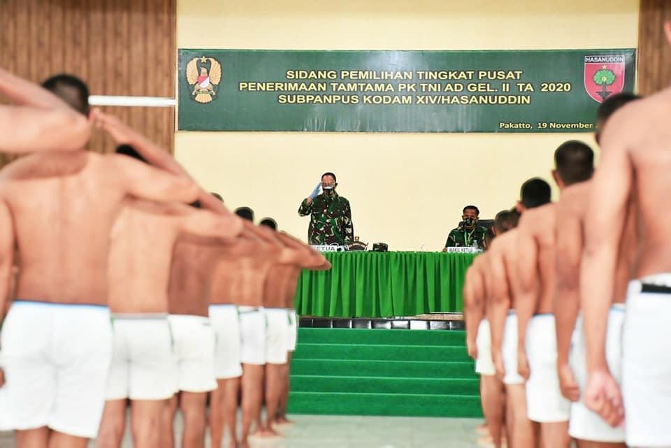 Pangdam Hasanuddin Pimpin Sidang Calon Tamtama PK Tingkat Pusat Gelombang II TA 2020